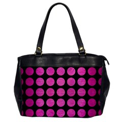Circles1 Black Marble & Pink Brushed Metal (r) Office Handbags by trendistuff