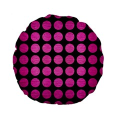 Circles1 Black Marble & Pink Brushed Metal (r) Standard 15  Premium Flano Round Cushions by trendistuff