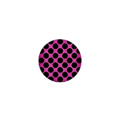 Circles2 Black Marble & Pink Brushed Metal 1  Mini Buttons by trendistuff