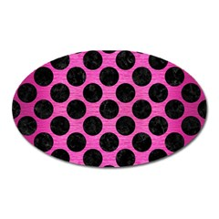 Circles2 Black Marble & Pink Brushed Metal Oval Magnet by trendistuff