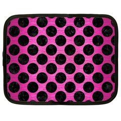 Circles2 Black Marble & Pink Brushed Metal Netbook Case (large) by trendistuff
