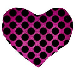 Circles2 Black Marble & Pink Brushed Metal Large 19  Premium Heart Shape Cushions by trendistuff