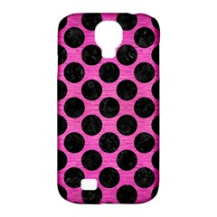 Circles2 Black Marble & Pink Brushed Metal Samsung Galaxy S4 Classic Hardshell Case (pc+silicone) by trendistuff