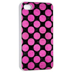 Circles2 Black Marble & Pink Brushed Metal (r) Apple Iphone 4/4s Seamless Case (white) by trendistuff