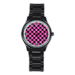 Circles2 Black Marble & Pink Brushed Metal (r) Stainless Steel Round Watch by trendistuff