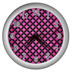 Circles3 Black Marble & Pink Brushed Metal Wall Clocks (silver)  by trendistuff