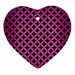 Circles3 Black Marble & Pink Brushed Metal (r) Ornament (heart) by trendistuff