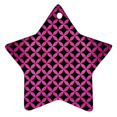 Circles3 Black Marble & Pink Brushed Metal (r) Star Ornament (two Sides) by trendistuff