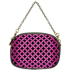 Circles3 Black Marble & Pink Brushed Metal (r) Chain Purses (two Sides)  by trendistuff