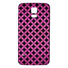 Circles3 Black Marble & Pink Brushed Metal (r) Samsung Galaxy S5 Back Case (white) by trendistuff