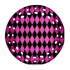 Diamond1 Black Marble & Pink Brushed Metal Ornament (round Filigree) by trendistuff