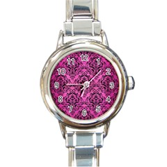 Damask1 Black Marble & Pink Brushed Metal Round Italian Charm Watch by trendistuff