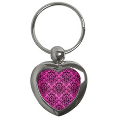 Damask1 Black Marble & Pink Brushed Metal Key Chains (heart)  by trendistuff