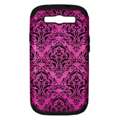 Damask1 Black Marble & Pink Brushed Metal Samsung Galaxy S Iii Hardshell Case (pc+silicone) by trendistuff