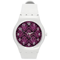 Damask1 Black Marble & Pink Brushed Metal (r) Round Plastic Sport Watch (m) by trendistuff