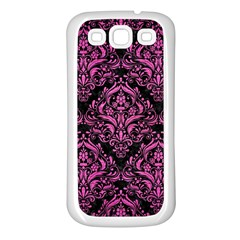 Damask1 Black Marble & Pink Brushed Metal (r) Samsung Galaxy S3 Back Case (white) by trendistuff