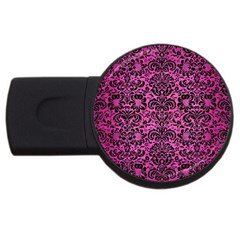 Damask2 Black Marble & Pink Brushed Metal Usb Flash Drive Round (2 Gb) by trendistuff