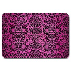 Damask2 Black Marble & Pink Brushed Metal Large Doormat  by trendistuff