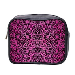 Damask2 Black Marble & Pink Brushed Metal Mini Toiletries Bag 2 Side by trendistuff
