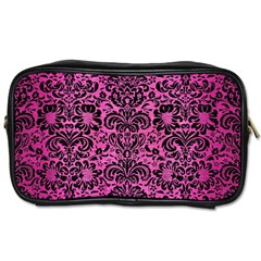 Damask2 Black Marble & Pink Brushed Metal Toiletries Bags 2 Side by trendistuff