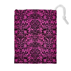 Damask2 Black Marble & Pink Brushed Metal Drawstring Pouches (extra Large) by trendistuff