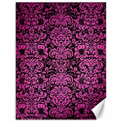 Damask2 Black Marble & Pink Brushed Metal (r) Canvas 12  X 16   by trendistuff