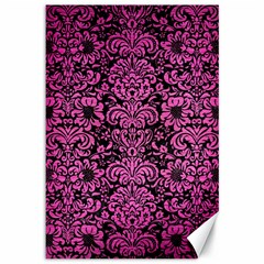 Damask2 Black Marble & Pink Brushed Metal (r) Canvas 12  X 18   by trendistuff