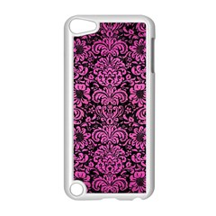Damask2 Black Marble & Pink Brushed Metal (r) Apple Ipod Touch 5 Case (white) by trendistuff
