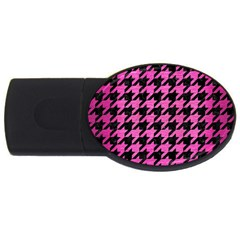 Houndstooth1 Black Marble & Pink Brushed Metal Usb Flash Drive Oval (4 Gb) by trendistuff