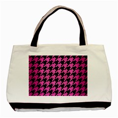 Houndstooth1 Black Marble & Pink Brushed Metal Basic Tote Bag by trendistuff