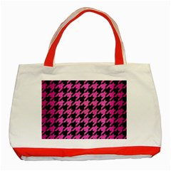 Houndstooth1 Black Marble & Pink Brushed Metal Classic Tote Bag (red)