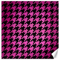 Houndstooth1 Black Marble & Pink Brushed Metal Canvas 20  X 20   by trendistuff