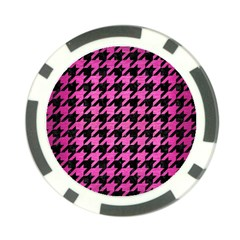 Houndstooth1 Black Marble & Pink Brushed Metal Poker Chip Card Guard (10 Pack) by trendistuff