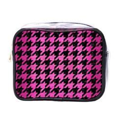 Houndstooth1 Black Marble & Pink Brushed Metal Mini Toiletries Bags by trendistuff