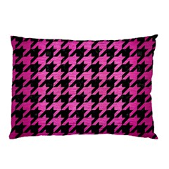 Houndstooth1 Black Marble & Pink Brushed Metal Pillow Case (two Sides) by trendistuff