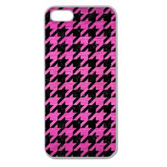 Houndstooth1 Black Marble & Pink Brushed Metal Apple Seamless Iphone 5 Case (clear) by trendistuff