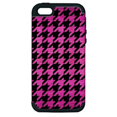 Houndstooth1 Black Marble & Pink Brushed Metal Apple Iphone 5 Hardshell Case (pc+silicone) by trendistuff