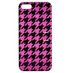 Houndstooth1 Black Marble & Pink Brushed Metal Apple Iphone 5 Hardshell Case With Stand by trendistuff