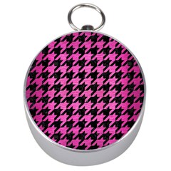 Houndstooth1 Black Marble & Pink Brushed Metal Silver Compasses by trendistuff