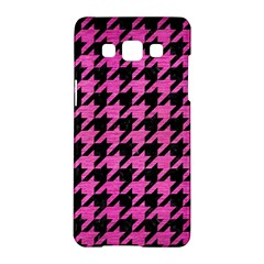 Houndstooth1 Black Marble & Pink Brushed Metal Samsung Galaxy A5 Hardshell Case  by trendistuff