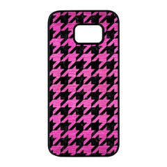 Houndstooth1 Black Marble & Pink Brushed Metal Samsung Galaxy S7 Edge Black Seamless Case by trendistuff
