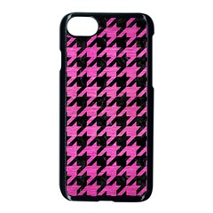 Houndstooth1 Black Marble & Pink Brushed Metal Apple Iphone 7 Seamless Case (black) by trendistuff