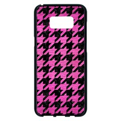 Houndstooth1 Black Marble & Pink Brushed Metal Samsung Galaxy S8 Plus Black Seamless Case by trendistuff