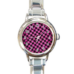 Houndstooth2 Black Marble & Pink Brushed Metal Round Italian Charm Watch by trendistuff