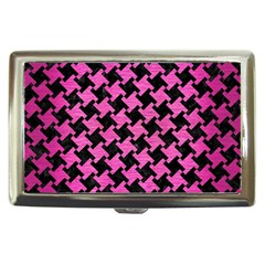 Houndstooth2 Black Marble & Pink Brushed Metal Cigarette Money Cases by trendistuff