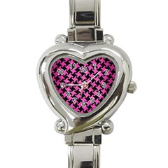 Houndstooth2 Black Marble & Pink Brushed Metal Heart Italian Charm Watch by trendistuff