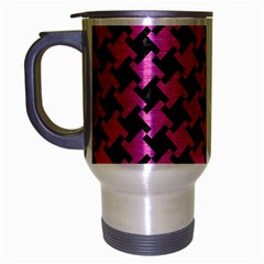 Houndstooth2 Black Marble & Pink Brushed Metal Travel Mug (silver Gray) by trendistuff