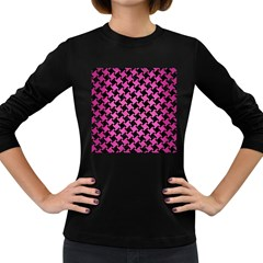 Houndstooth2 Black Marble & Pink Brushed Metal Women s Long Sleeve Dark T Shirts by trendistuff