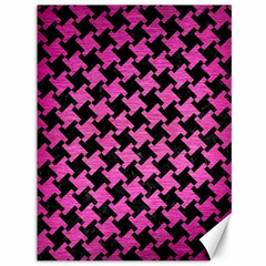 Houndstooth2 Black Marble & Pink Brushed Metal Canvas 36  X 48   by trendistuff