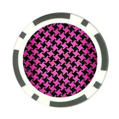 Houndstooth2 Black Marble & Pink Brushed Metal Poker Chip Card Guard (10 Pack) by trendistuff